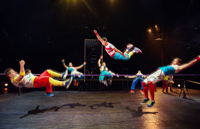 """The Flashkicks, a Ukrainian family troupe that includes one set of twins and one set of triplets, perform freerunning and parkour in """"Circus Xtreme."""" (Feld Entertainment)"""
