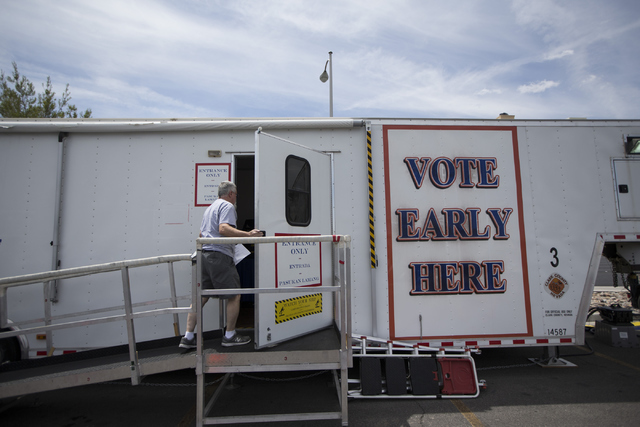 A man visits an early voting station near the intersection of Desert Inn Road and Decatur Boulevard on Saturday, May 28, 2016, in Las Vegas. (Erik Verduzco/Las Vegas Review-Journal) Follow @Erik_V ...