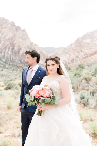 Suzanne Vinnik and groom Keenan Richards on their wedding day at Spring Mountain Ranch State Park May 28. (Heather Farias/Urban Whimsy Photography)