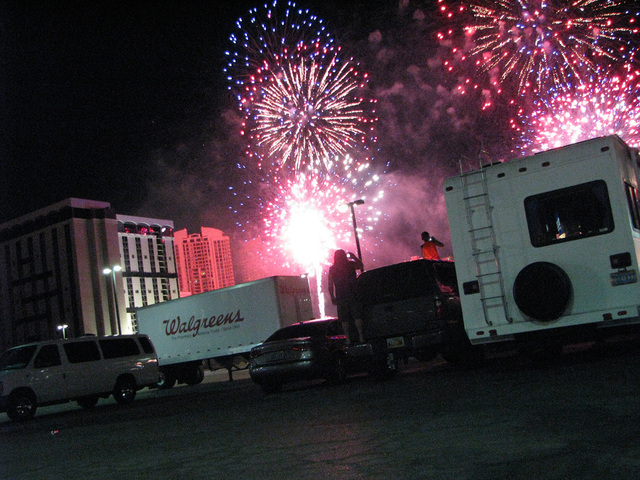 A fireworks display preceded the implosion of one of the newer towers of the Riviera in the early hours of June 14, 2016.  (F. Andrew Taylor/Las Vegas Review-Journal)
