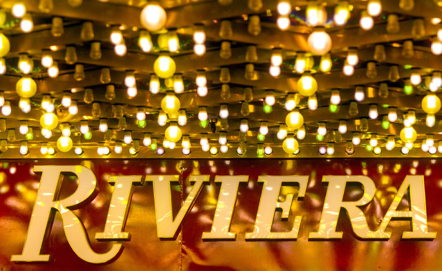 Exterior lights as seen Monday, April 20, 2015 at the Riviera hotel-casino, 2901 Las Vegas Blvd. South. The resort will close Monday, May 4, to make room for Las Vegas Convention Center expansion. ...