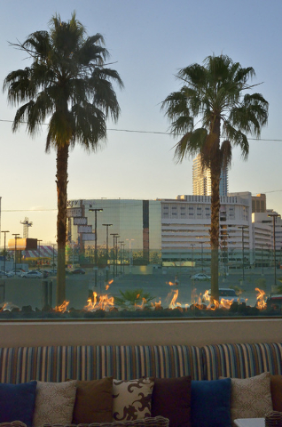 The Riviera hotel-casino is shown from from the patio of The Barrymore restaurant and bar in the Royal Resort at 99 Convention Center Drive in Las Vegas on Tuesday, June 7, 2016. The Monte Carlo t ...