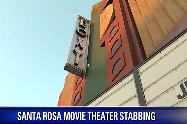 A man was hospitalized with life-threatening injuries after he was stabbed inside a Santa Rosa, California, movie theater, Wednesday, June 29, 2016. (Screengrab/KTVU TV)