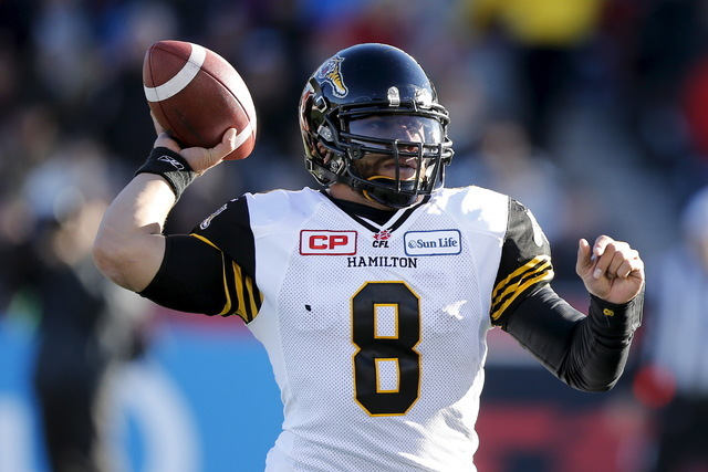 Hamilton Tiger-Cats quarterback Jeremiah Masoli throws the ball against the Ottawa Redblacks during the first half of their CFL eastern final football game in Ottawa, Canada, November 22, 2015. (C ...