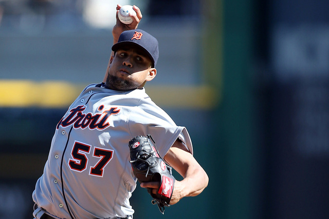 Apr 14, 2016; Pittsburgh, PA, USA; Detroit Tigers relief pitcher Francisco Rodriguez (57) pitches against the Pittsburgh Pirates during the ninth inning in an inter-league game at PNC Park. The Ti ...