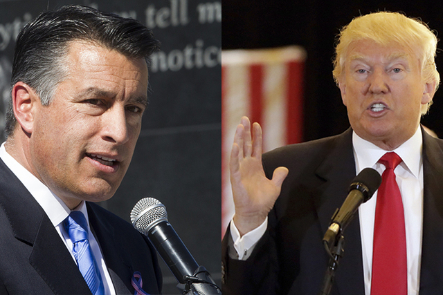 Gov. Brian Sandoval and GOP presidential candidate Donald Trump. (Las Vegas Review-Journal and Reuters)