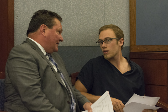 Desert Pines High School teacher Jonathan Scheaffer, right, and his attorney Louis Schneider appear in court at the Regional Justice Center in Las Vegas, Monday, June 6, 2016. (Jason Ogulnik/Las V ...