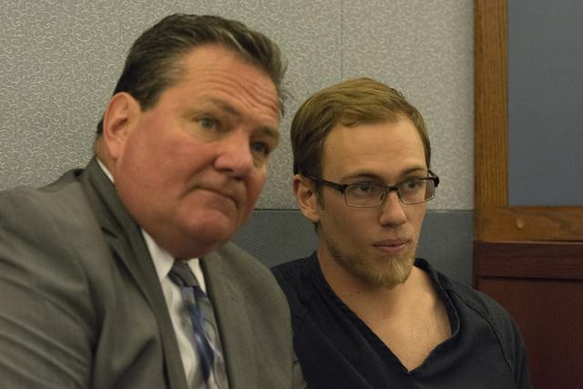 Desert Pines High School teacher Jonathan Scheaffer, right, and his attorney, Louis C. Schneider, appear in court at the Regional Justice Center in Las Vegas Monday, June 6, 2016. Scheaffer is bei ...
