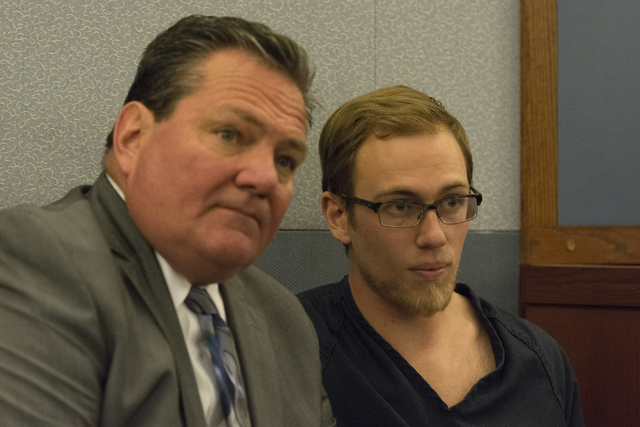 Desert Pines High School teacher Jonathan Scheaffer, right, and his attorney, Louis C. Schneider, appear in court at the Regional Justice Center in Las Vegas Monday, June 6, 2016. Scheaffer is bei ...