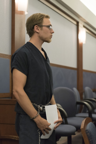 Desert Pines High School teacher Jonathan Scheaffer appears in court at the Regional Justice Center in Las Vegas Monday, June 6, 2016. Scheaffer is being charged with sex with a student. (Jason Og ...