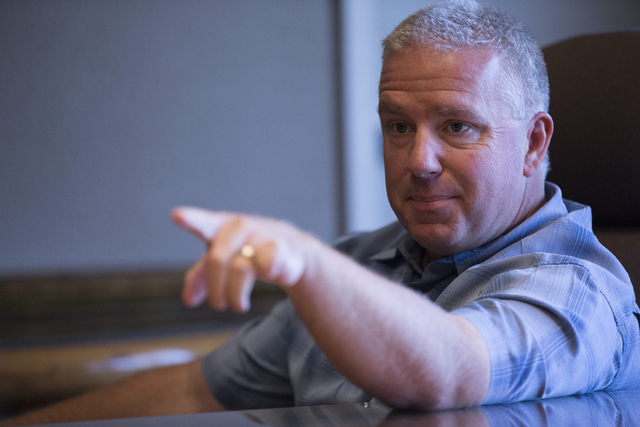 Former officer for the Clark County School District Police Department Daniel Burgess speaks on alleged misconduct during an interview with the Las Vegas Review-Journal on Friday, June 10, 2016, in ...