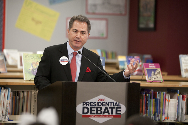 UNLV president Len Jessup speaks at a press conference announcing election-themed educational initiatives at Paradise Elementary School on Wednesday, June 15, 2016. (Loren Townsley/Las Vegas Revie ...