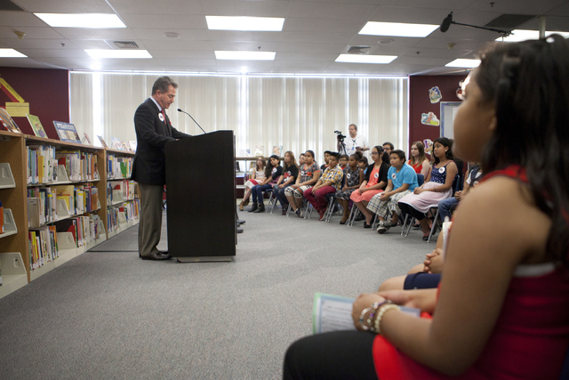 UNLV president Len Jessup speaks at a press conference announcing election-themed educational initiatives at Paradise Elementary School on UNLV's Campus on Wednesday, June 15, 2016. (Loren Townsle ...