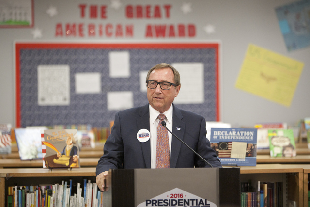 Rossi Ralenkotter, president and CEO of the Las Vegas Convention and Visitors Authority, speaks at a press conference announcing election-themed educational initiative on Wednesday, June 15, 2016. ...