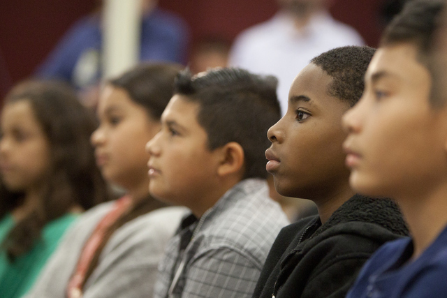 Students at Paradise Elementary School on UNLV's Campus attend a press conference announcing election-themed educational initiatives on Wednesday, June 15, 2016. (Loren Townsley/Las Vegas Review-J ...