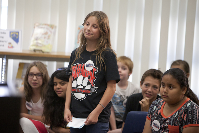 Cambria Walton addresses the speakers during a press conference announcing election-themed educational initiatives at Paradise Elementary School on UNLV's Campus, Wednesday, June 15, 2016, in Las  ...