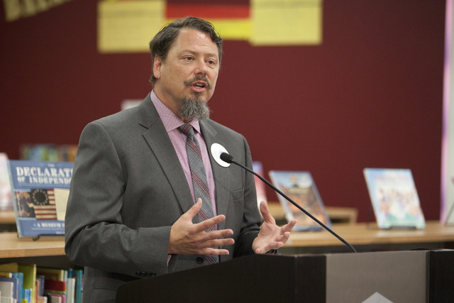 Clark County School District Superintendent Pat Skorkowsky speaks at a press conference announcing election-themed educational initiatives on Wednesday, June 15, 2016. (Loren Townsley/Las Vegas Re ...