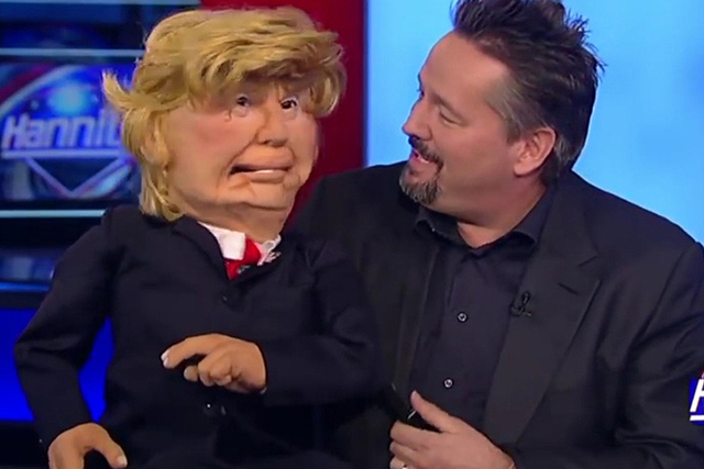 Screenshot of Mirage headliner and Trump endorser Terry Fator as he showed his new Donald Trump puppet on Fox News, May 26, 2016.