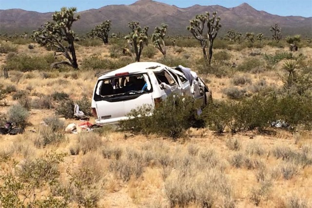 Two people were killed in a single-vehicle crash on state Route 164 west of Searchlight on Friday, June 17, 2016. (Nevada Highway Patrol)