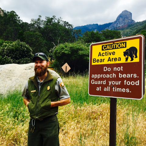 Gammons stands in the parking lot of the Hospital Rock Campground in California's Sequoia National Park, which is posted with signs that warn visitors against feeding bears or leaving food unatten ...