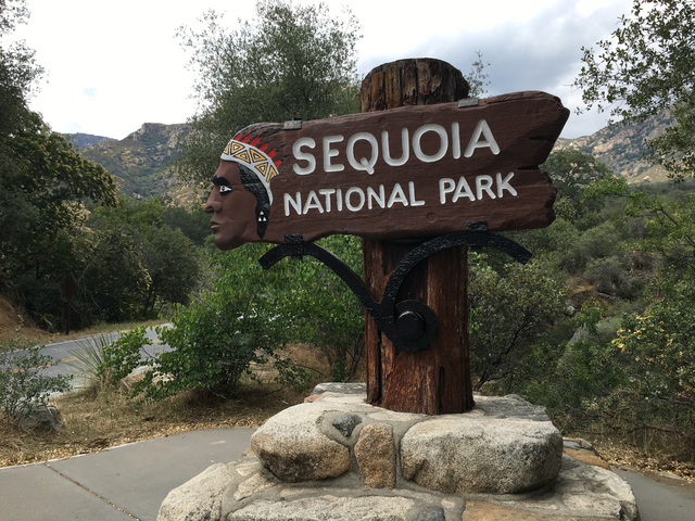 The welcome sign at Sequoia National Park, a place where tourists like to take pictures and black bears have been known to congregate. (John M. Glionna/Special to the Las Vegas Review-Journal)