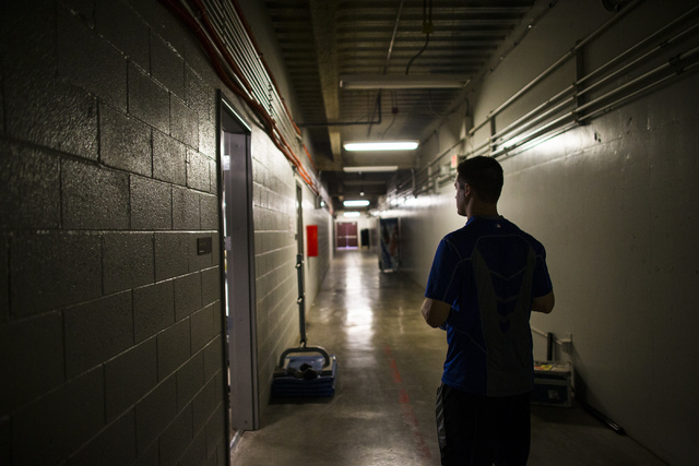 Las Vegas 51s player Paul Sewald walks in a tunnel at Cashman Field ahead of a game against the El Paso Chihuahuas in Las Vegas on Friday, May 13, 2016. (Chase Stevens/Las Vegas Review-Journal Fol ...