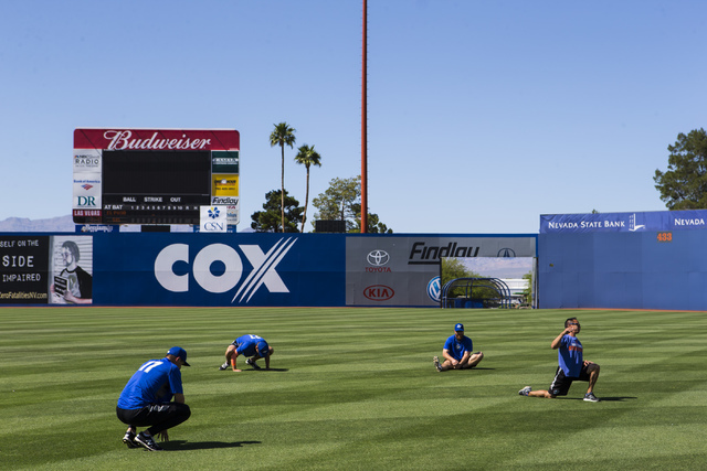 Las Vegas 51s players and staff, including Paul Sewald, left, work out at Cashman Field ahead of a game against the El Paso Chihuahuas in Las Vegas on Friday, May 13, 2016. (Chase Stevens/Las Vega ...