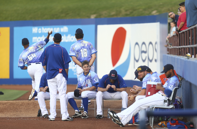 Las Vegas 51s player Paul Sewald, center left, sits in the bullpen ahead of a game against the El Paso Chihuahuas at Cashman Field in Las Vegas on Friday, May 13, 2016. (Chase Stevens/Las Vegas Re ...