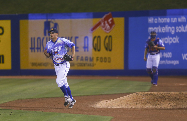 Las Vegas 51s player Paul Sewald runs over to the mound to pitch against the El Paso Chihuahuas at Cashman Field in Las Vegas on Friday, May 13, 2016. (Chase Stevens/Las Vegas Review-Journal Follo ...