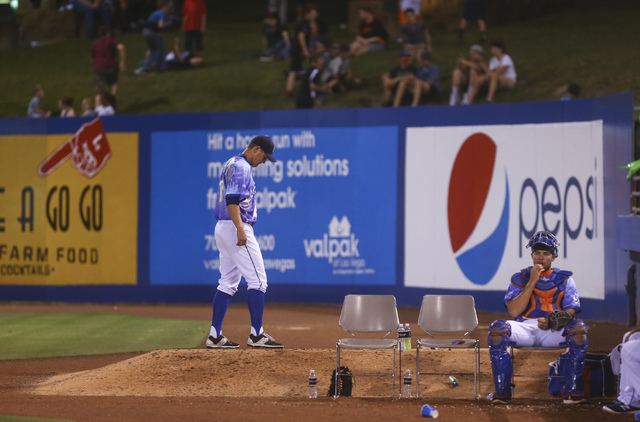 Las Vegas 51s player Paul Sewald stands around the bullpen as his team plays the El Paso Chihuahuas at Cashman Field in Las Vegas on Friday, May 13, 2016. (Chase Stevens/Las Vegas Review-Journal F ...