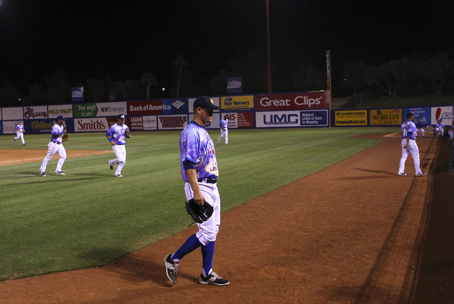 Las Vegas 51s player Paul Sewald walks off the field after a 12-10 loss against the El Paso Chihuahuas at Cashman Field in Las Vegas on Friday, May 13, 2016. (Chase Stevens/Las Vegas Review-Journa ...
