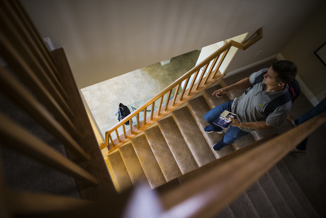 Las Vegas 51s player Paul Sewald leaves his home, where he lives with his parents, in the Summerlin area of Las Vegas on Friday, May 13, 2016. (Chase Stevens/Las Vegas Review-Journal Follow @csste ...