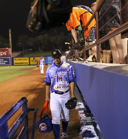 Las Vegas 51s player Paul Sewald walks off the field after a 12-10 loss against El Paso Chihuahuas at Cashman Field in Las Vegas on Friday, May 13, 2016. (Chase Stevens/Las Vegas Review-Journal Fo ...