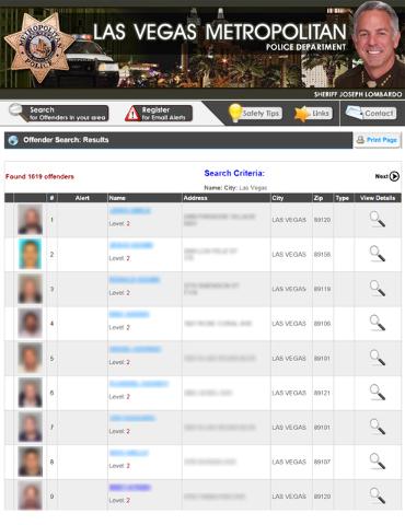 Screen grab off of Las Vegas police sex offender website.