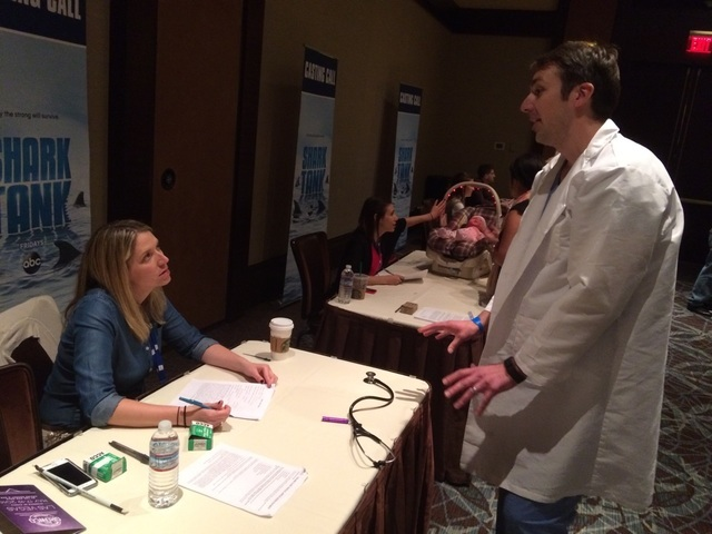 """Zoran Lesic of Denver pitches his idea, Smart Little Bug, which disinfects stethoscopes, May 19, 2016, at Red Rock Resort during auditions for """"Shark Tank."""" As a doctor, Lesic saw how easy it was  ..."""