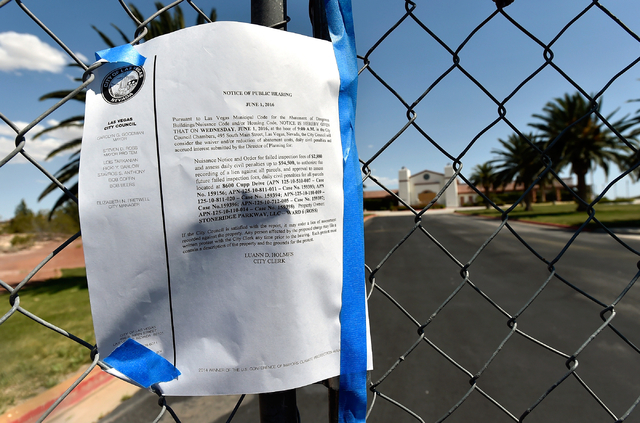 A notice from the City of Las Vegas is taped to fencing at the entrance of the closed Silverstone Golf Club Monday, May 23, 2016, in Las Vegas. (David Becker/Las Vegas Review-Journal) Follow @davi ...