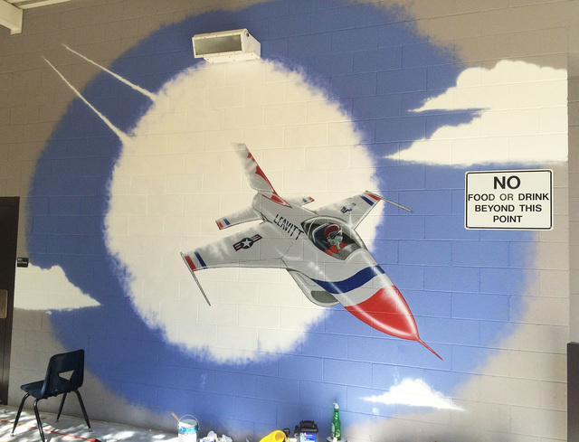 Celestia Ward's painted murals adorn a wall at Justice Myron E Leavitt Middle School, 4701 Quadrel St. Celestia Ward/Special to View