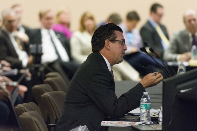 Jeremy Aguero speaks during a Southern Nevada Tourism Infrastructure Committee meeting at the Stan Fulton Building at UNLV in Las Vegas Thursday, June 23, 2016.(Jason Ogulnik/Las Vegas Review-Journal)