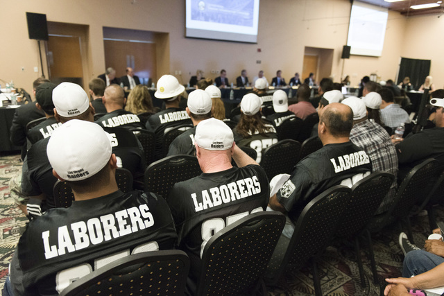 Members of Laborers Union Local 872 are seen during a Southern Nevada Tourism Infrastructure Committee meeting at the Stan Fulton Building at UNLV in Las Vegas Thursday, June 23, 2016. Jason Oguln ...