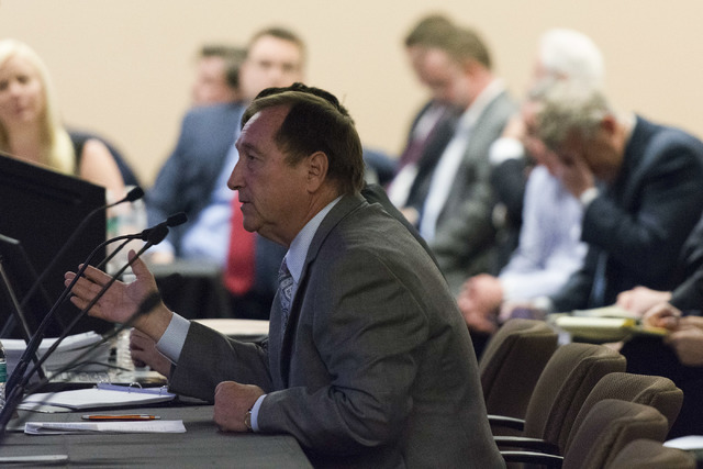 Las Vegas Convention and Visitors Authority CEO Rossi Ralenkotter speaks during a Southern Nevada Tourism Infrastructure Committee meeting at the Stan Fulton Building at UNLV in Las Vegas Thursday ...
