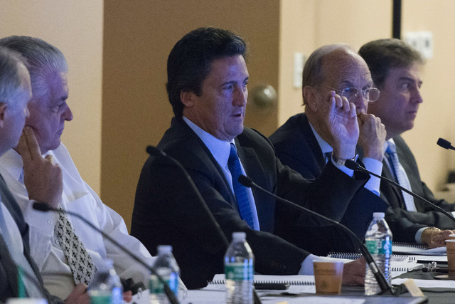 MGM President Bill Hornbuckle, center, speaks during a Southern Nevada Tourism Infrastructure Committee meeting at the Stan Fulton Building at UNLV in Las Vegas Thursday, June 23, 2016.(Jason Ogul ...