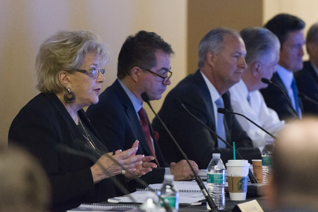 Las Vegas Mayor Carolyn Goodman, left, speaks during a Southern Nevada Tourism Infrastructure Committee meeting at the Stan Fulton Building at UNLV in Las Vegas Thursday, June 23, 2016. Jason Ogul ...