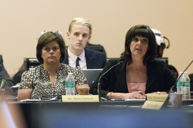 Rosemary Vassiliadis, director of the Clark County Department of Aviation, right, speaks during a Southern Nevada Tourism Infrastructure Committee meeting at the Stan Fulton Building at UNLV in La ...