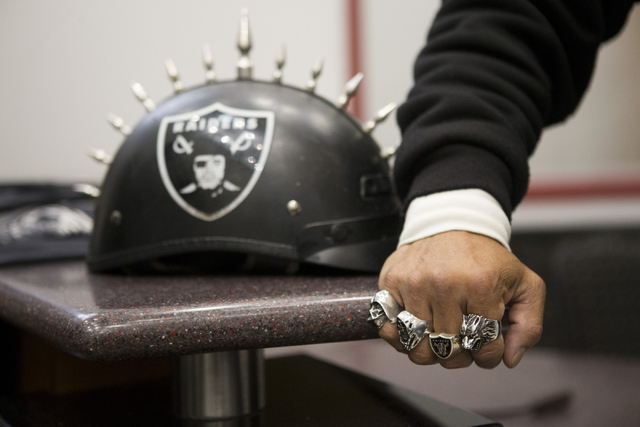 Eric Carrillo stands inside the Stan Fulton Building at UNLV before a meeting with Oakland Raiders and local government and UNLV officials to discuss a proposed Las Vegas dome stadium on Thursday, ...