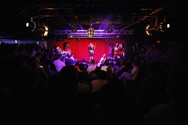 Roxxxy Andrews, center, hosts a fundraiser for the Pulse nightclub staff at the gay nightclub Southern Nights on Wednesday, June 15, 2016 in Orlando, Florida. (Rachel Aston/Las Vegas Review-Journa ...