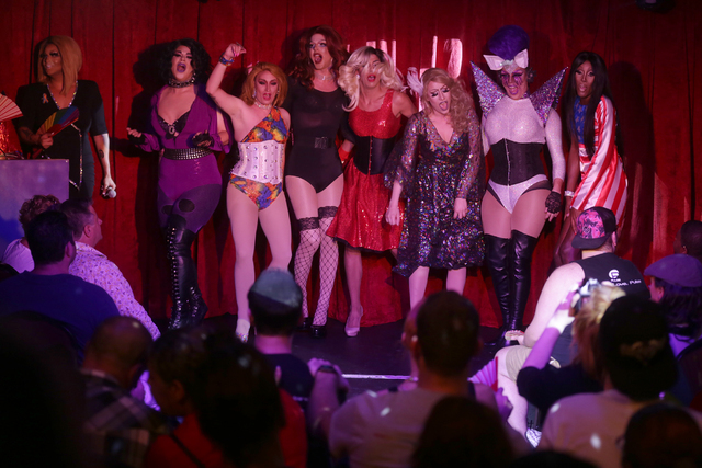 Members of Orlando Drag Race Live perform at a fundraiser for Pulse staff at the gay nightclub Southern Nights on Wednesday, June 15, 2016 in Orlando, Florida. (Rachel Aston/Las Vegas Review-Journ ...