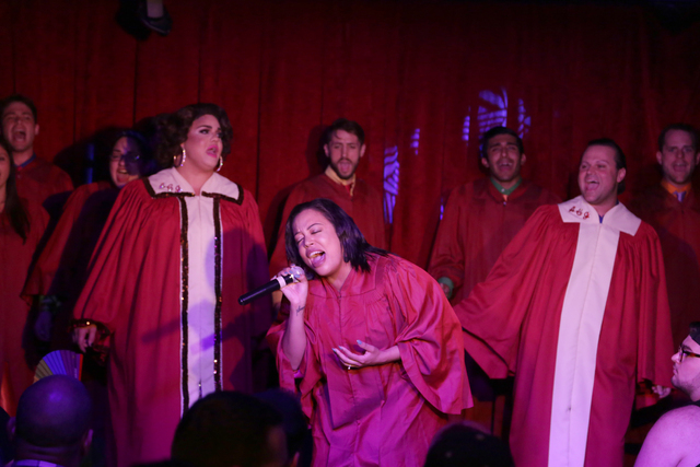 Members of Broadway Brunch At Hamburger Mary's perform at a fundraiser for Pulse nightclub staff at the gay nightclub Southern Nights on Wednesday, June 15, 2016 in Orlando, Florida. (Rachel Aston ...