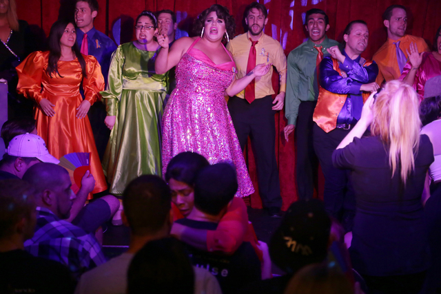 Members of Broadway Brunch At Hamburger Mary's  perform at a fundraiser for Pulse nightclub staff at the gay nightclub Southern Nights on Wednesday, June 15, 2016 in Orlando, Florida. (Rachel Asto ...