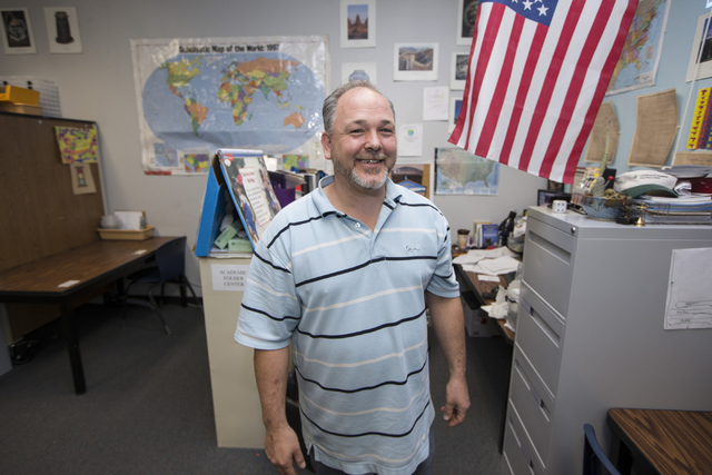 Douglas Trinkle, autism teacher at Variety School, poses for a portrait in his classroom at Variety School on Tuesday, May 31, 2016, in Las Vegas. Trinkle was named the Outstanding Education Teach ...
