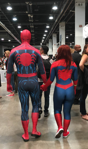 A couple cosplays as Spider-Man and Mary Jane at the Amazing Las Vegas Comic Con on Saturday, June 18, 2016. (Ashley Casper/Las Vegas Review-Journal)